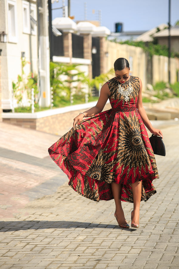 Feyi African Print Hilow dress
