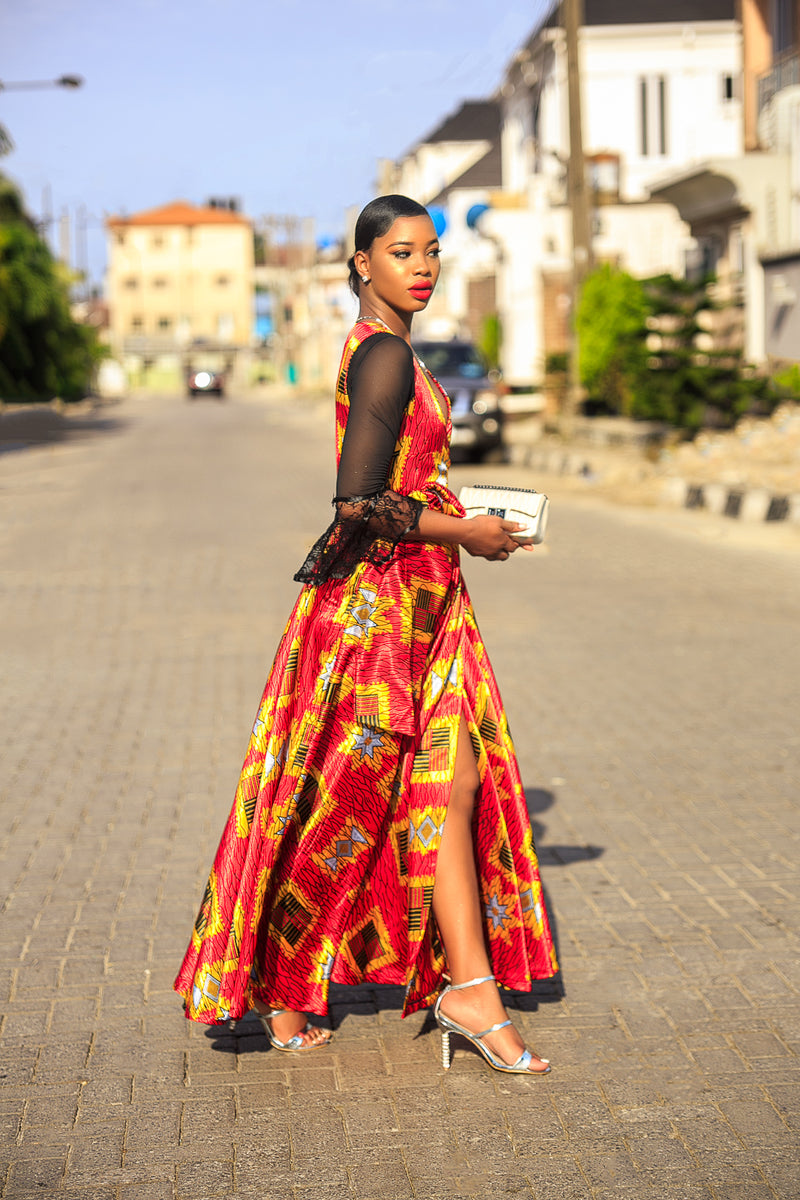 Adela African print silk dress