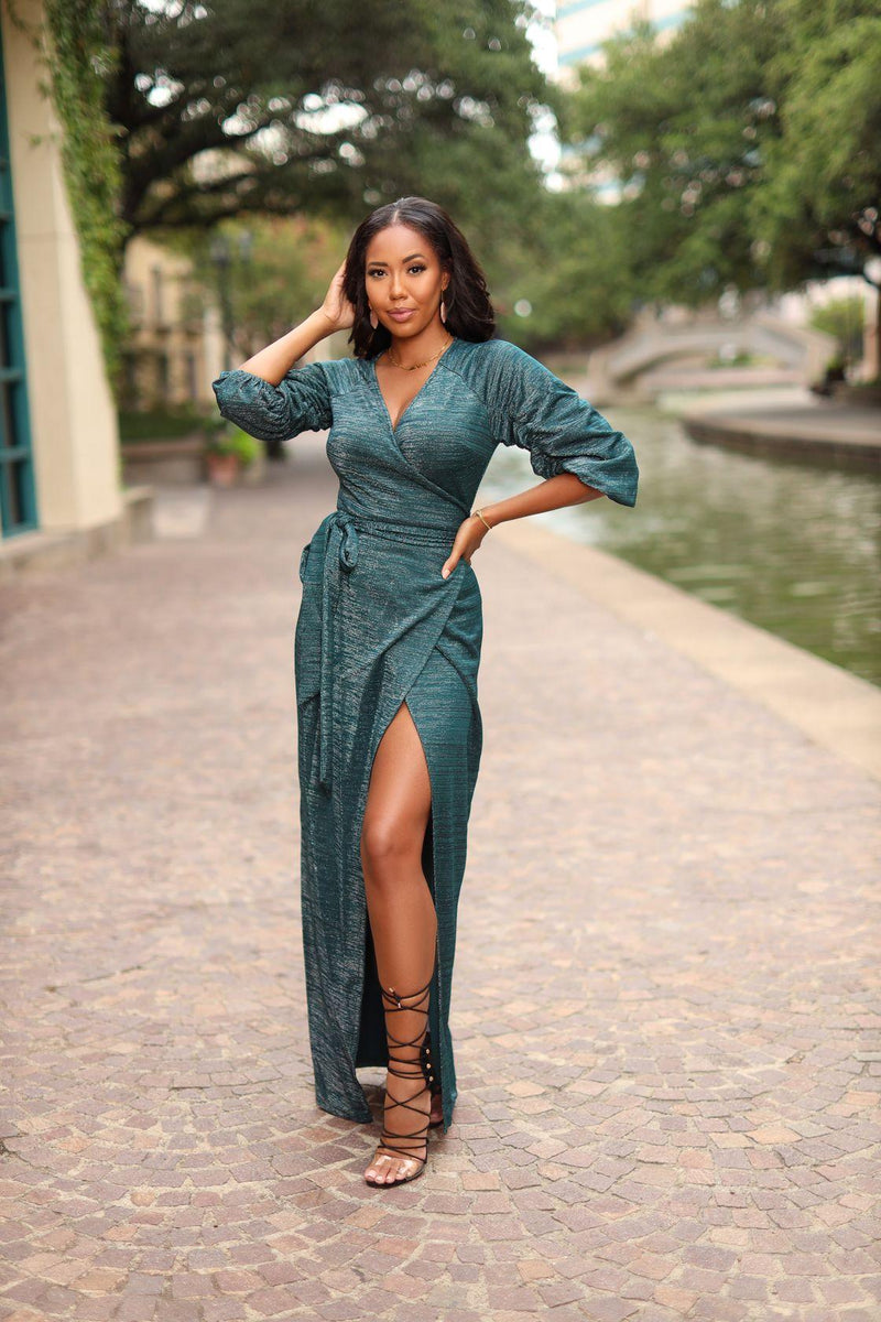 Fifi green wrap dress