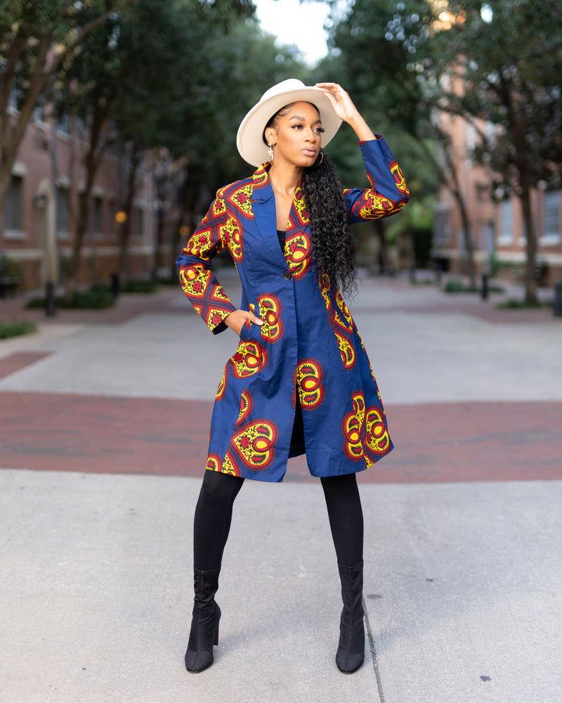 Erica Blue African print  Jacket