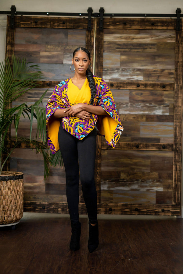 African print Reversible  Tolani Poncho