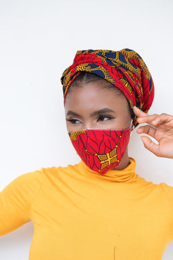 Ikoyi African Print Headwrap and Mask set