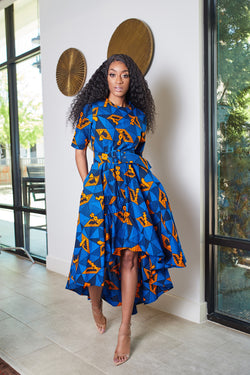Kene Hilow ankara Dress with Belt