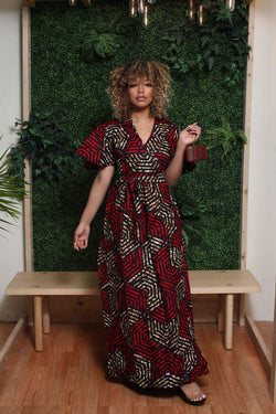 Awiti African Print Wrap dress