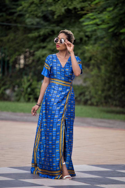 Tola African print Silk Wrap dress