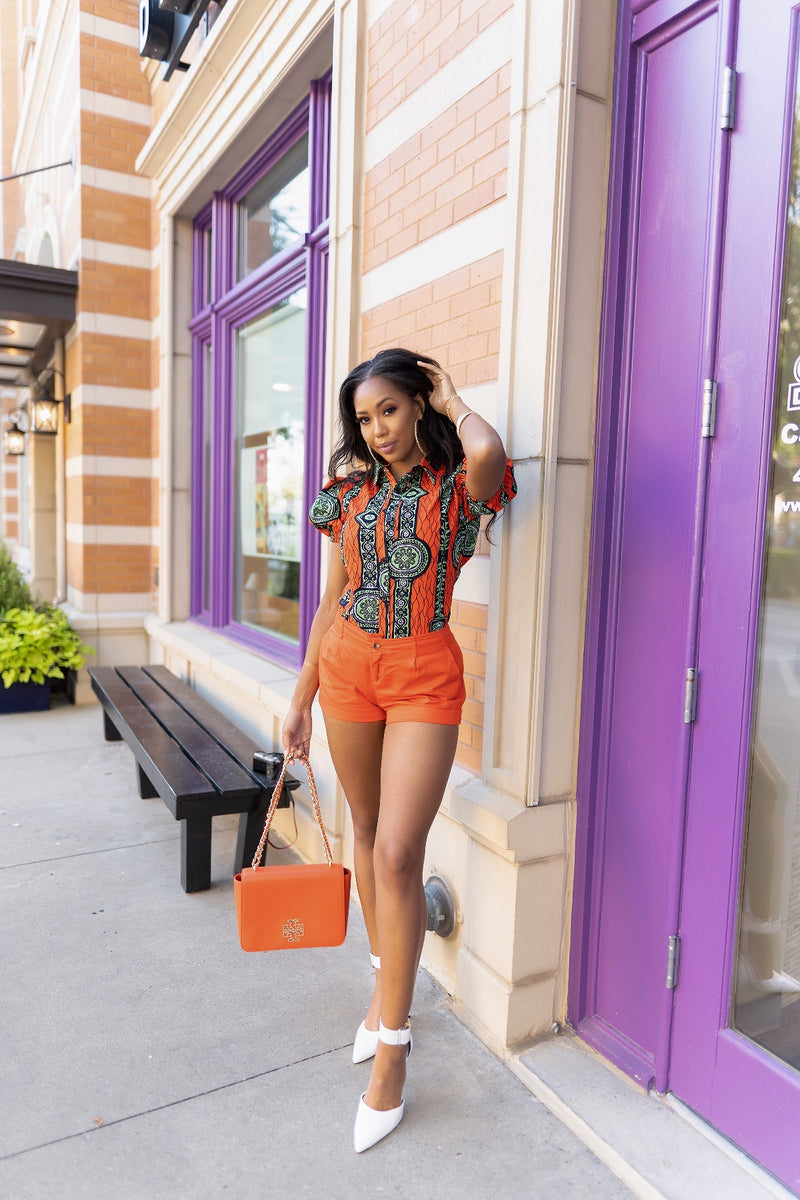 African print  Button up  Top