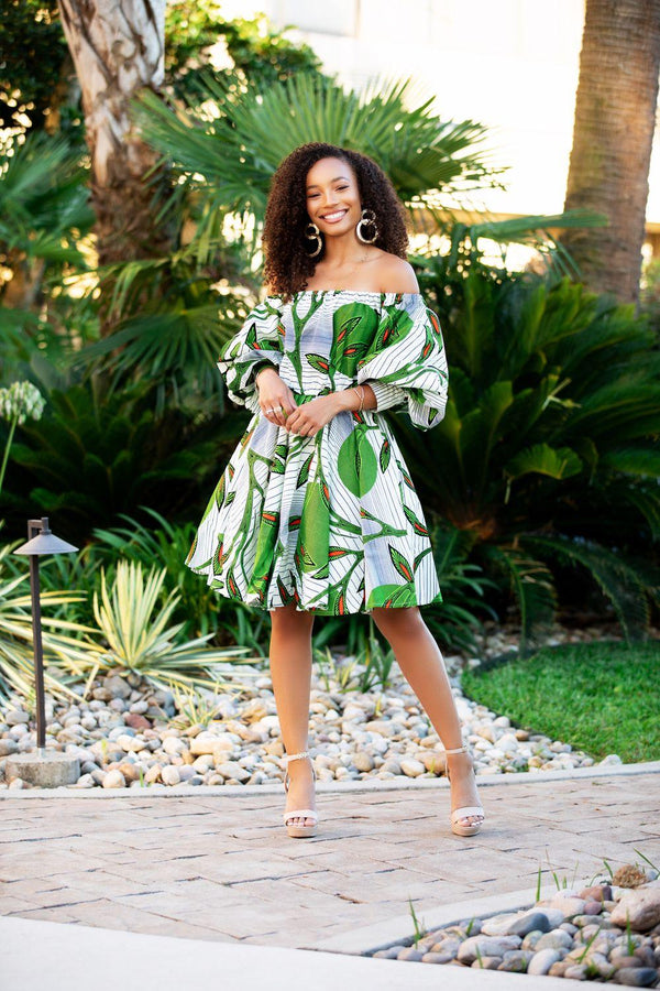 Maria Off shoulder Summer dress in green and white Print