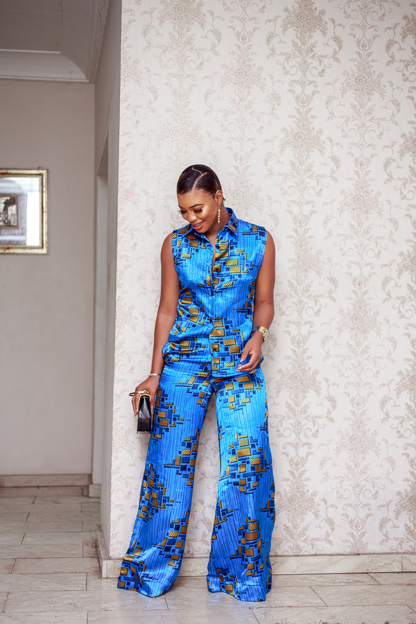 Lekki Matching silk set in blue