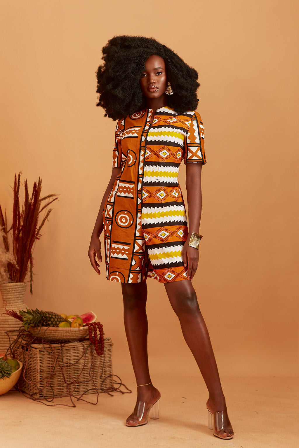 Ngozi African print Romper in Brown