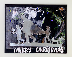 """Tree Picking Holiday"" Signature Acrylic Pour Christmas Card"