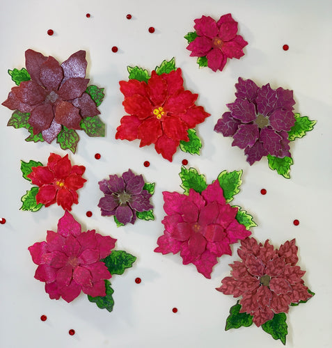 Small Sparkly Hand-cut Poinsettias Embellishments