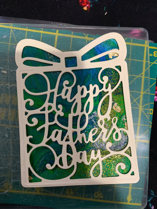 Father's Day Die Cut on Acrylic Pour