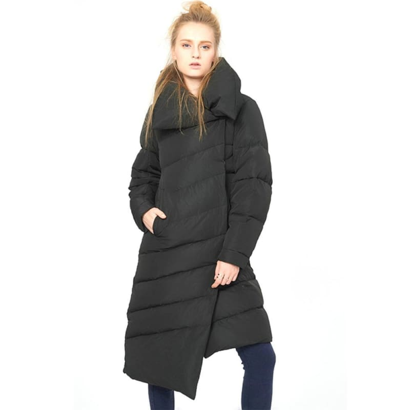 c80381a8f47d8 Womens Long Quilted Down Jacket Long Sleeve Asymmetric Hemline White Duck  Down Jackets - Black ...