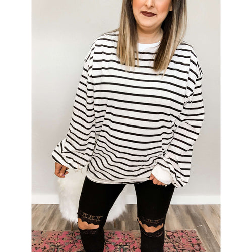 Black and White Striped Oversized Top:The Rustic Buffalo Boutique