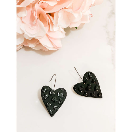 Black Leopard Heart Earring:The Rustic Buffalo Boutique