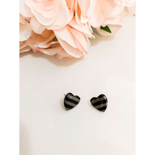 Black/Gray Striped Heart Stud Earrings:The Rustic Buffalo Boutique