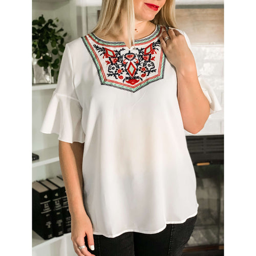 Bohemian Embroidered Blouse:The Rustic Buffalo Boutique
