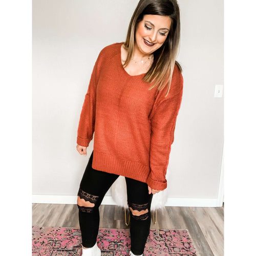 Brick High Low Sweater:The Rustic Buffalo Boutique
