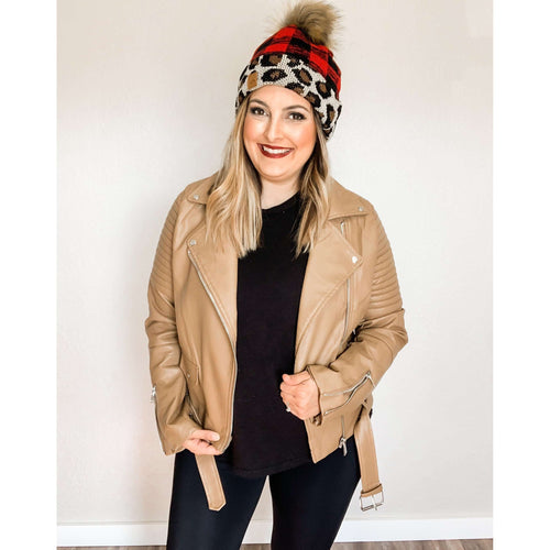 Camel Faux Leather Jacket:The Rustic Buffalo Boutique