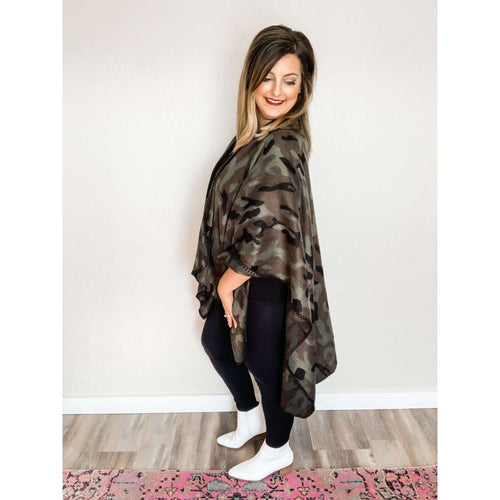 Camo Poncho Cardigan:The Rustic Buffalo Boutique