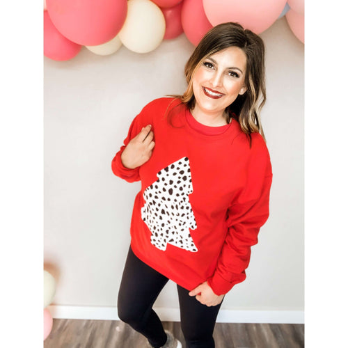 Dalmatian Christmas Tree Fleece Sweatshirt:The Rustic Buffalo Boutique