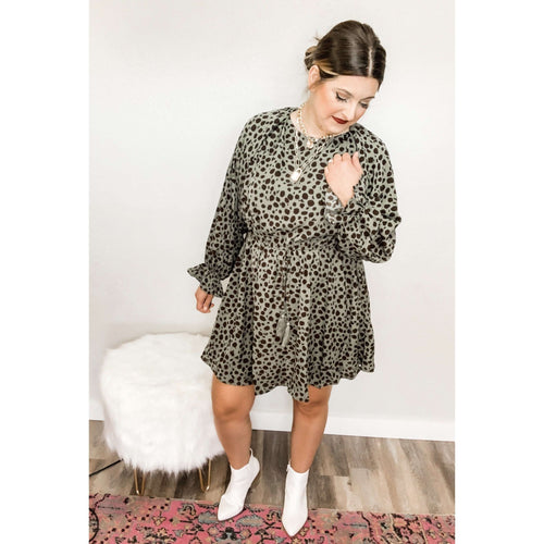 Dalmatian Dolman Sleeve Dress:The Rustic Buffalo Boutique