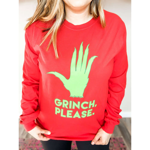 Grinch Please Long-sleeved Shirt:The Rustic Buffalo Boutique
