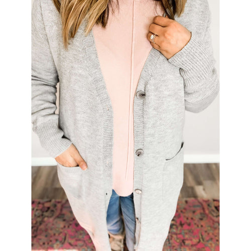 Heather Grey Cardigan:The Rustic Buffalo Boutique