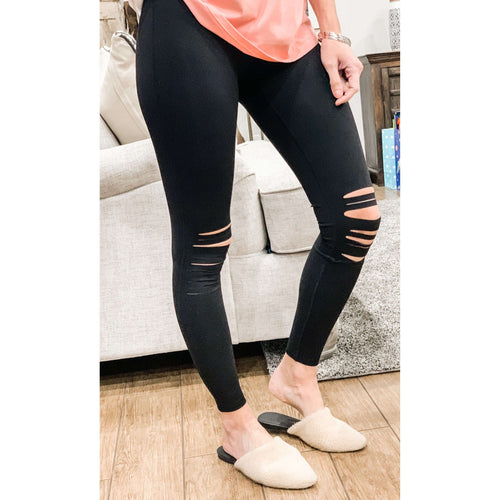 Knee Cut Out Legging-Black:The Rustic Buffalo Boutique
