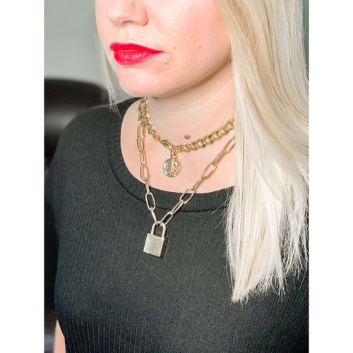 Lock Pendant Chain Necklace:The Rustic Buffalo Boutique