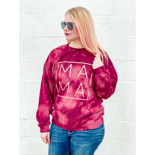 Mama Bleached Pullover:The Rustic Buffalo Boutique