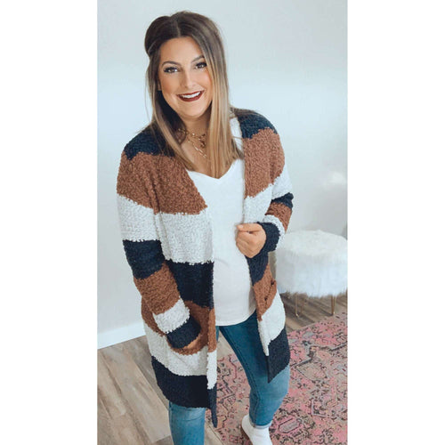 Mocha Block Striped Cardigan:The Rustic Buffalo Boutique