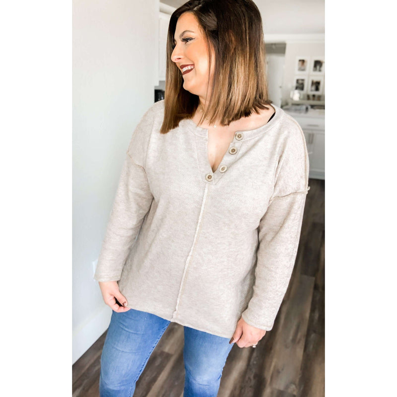 Oatmeal Waffle Knit Oversized Top:The Rustic Buffalo Boutique
