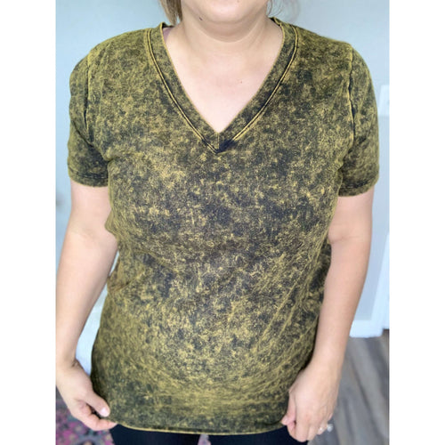 Olive Mineral Washed V-Neck:The Rustic Buffalo Boutique