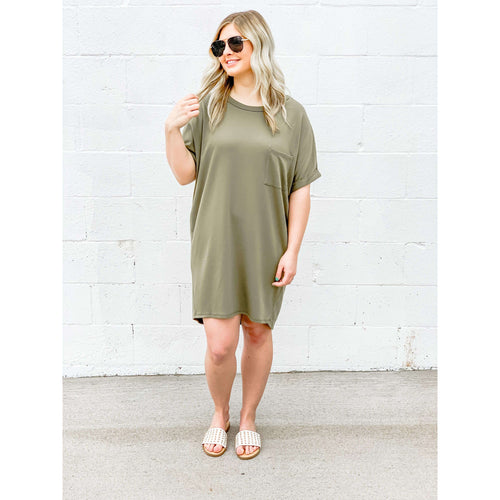 Olive T-Shirt Dress:The Rustic Buffalo Boutique