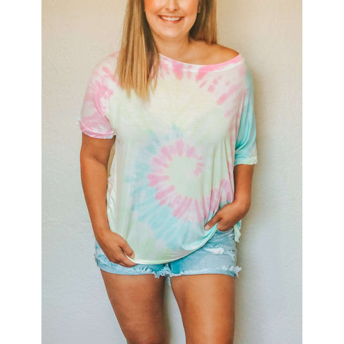 Pink Tie Dye Swirl Tee:The Rustic Buffalo Boutique