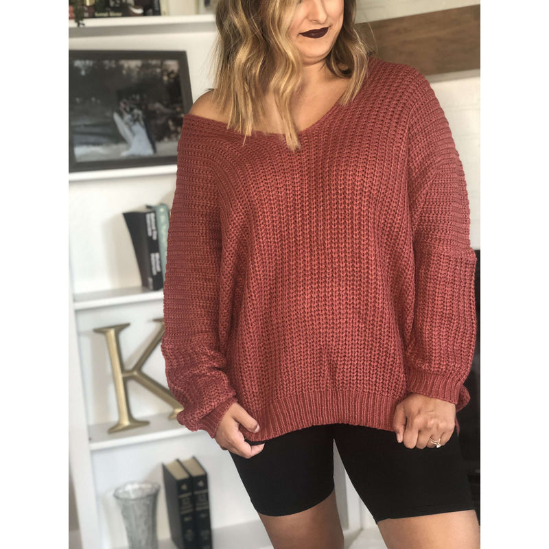 Rust Oversized Knit Sweater:The Rustic Buffalo Boutique