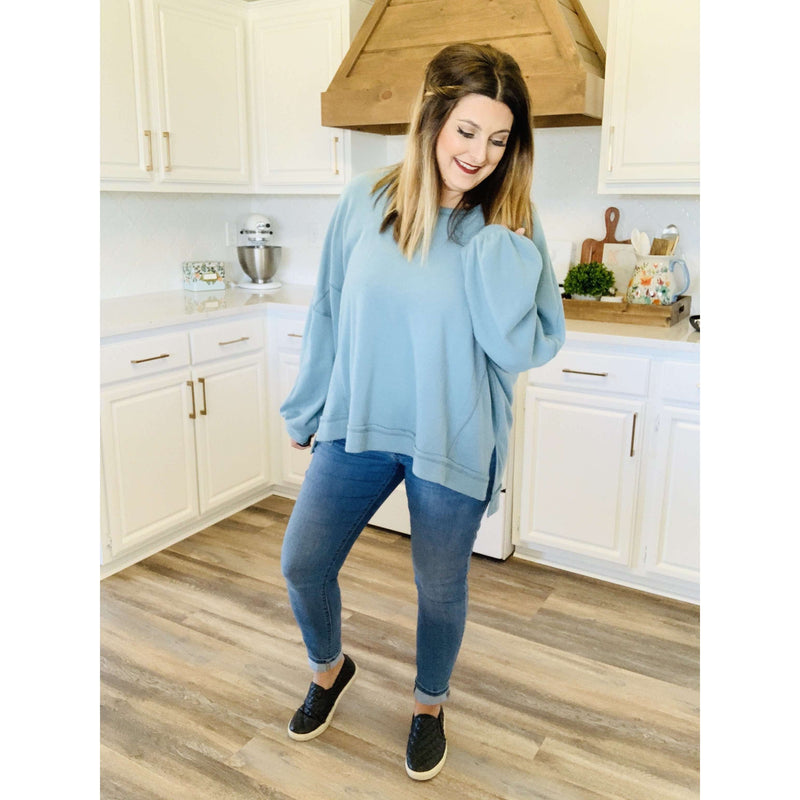 Seafoam Oversized Knit Top:The Rustic Buffalo Boutique