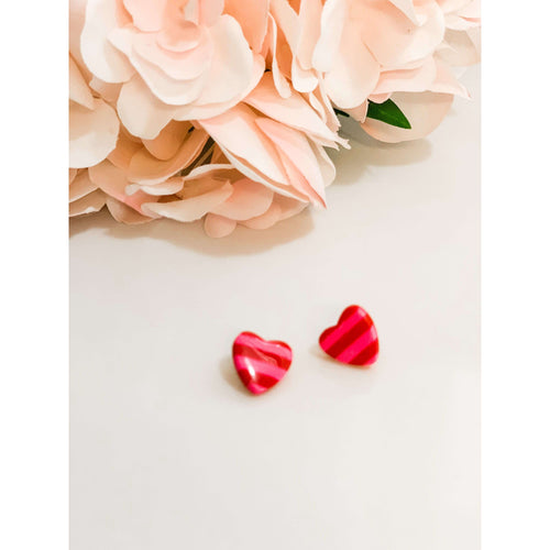 Striped Pink/Red Stud Heart:The Rustic Buffalo Boutique