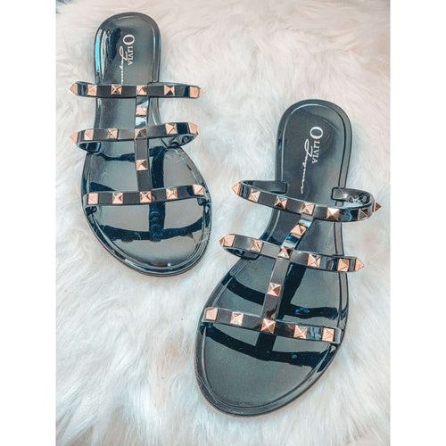 Studded Black Jelly Sandals:The Rustic Buffalo Boutique