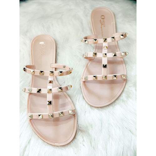 Studded Nude Jelly Sandals:The Rustic Buffalo Boutique
