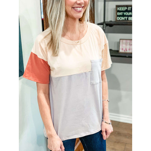 The Basic Color Block Tee:The Rustic Buffalo Boutique