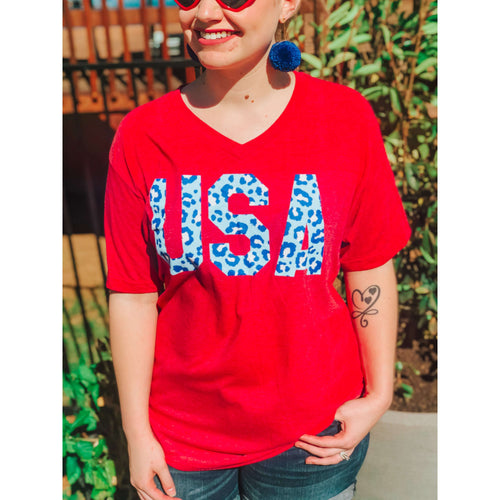 USA V-neck Graphic Tee:The Rustic Buffalo Boutique