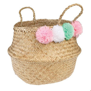Pom Pom Belly Basket - PASTELS