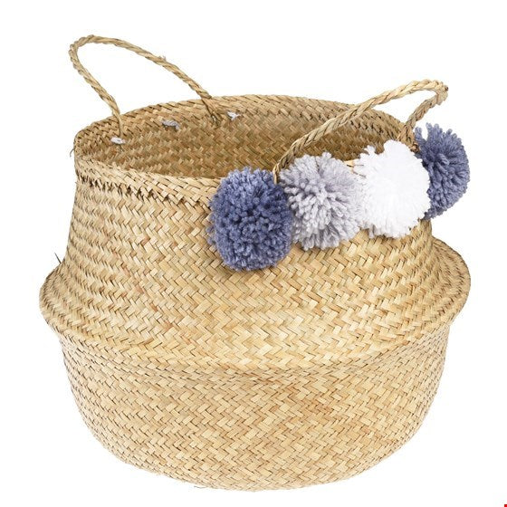 Pom Pom Belly Basket - GREY