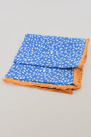 Animal Print Fringe Scarf - Blue