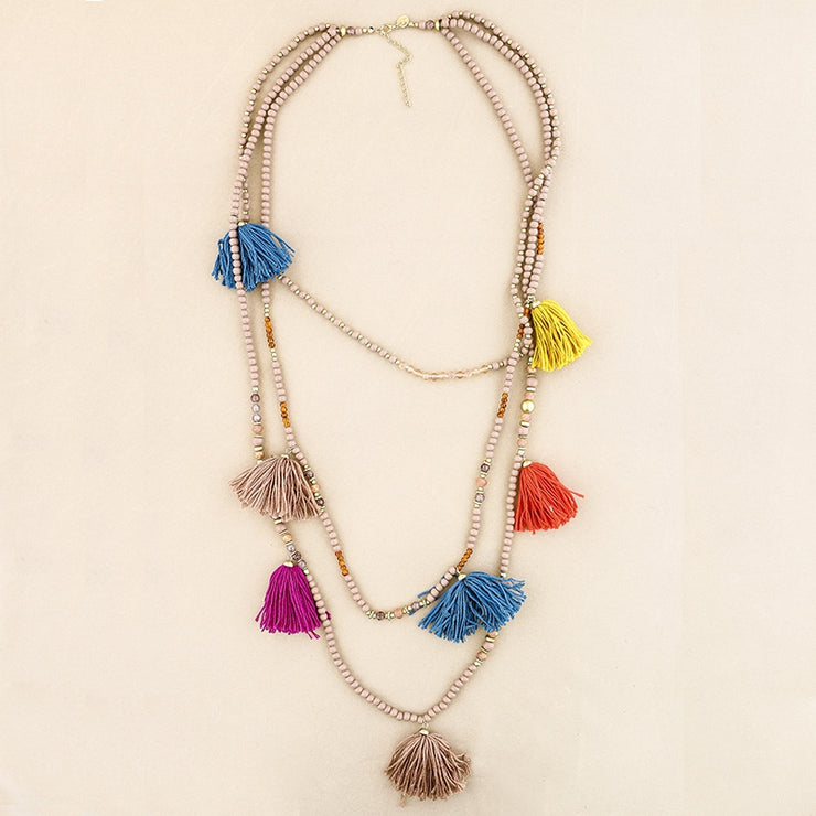 Triple layer Beaded Tassel Necklace