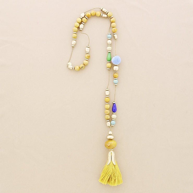 Spanish Flower Tassel Long Necklace