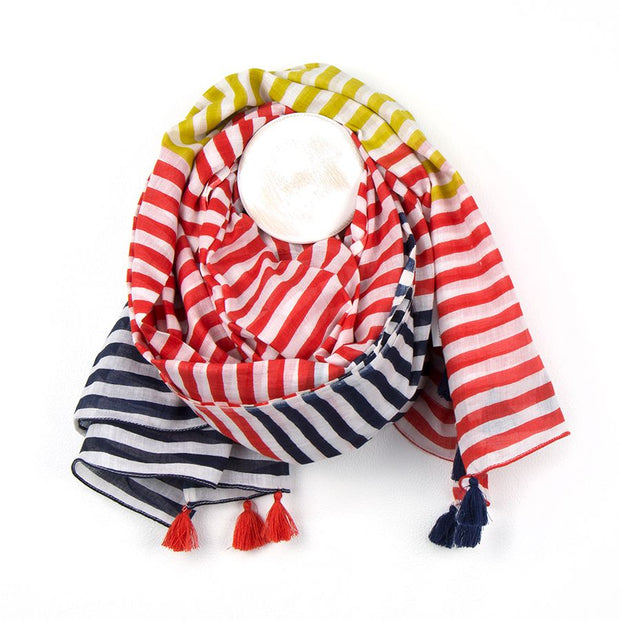 Cotton Mustard, Red And Navy Stripe Scarf