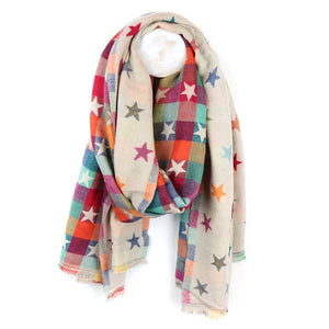 Star And Check Scarf - Cream